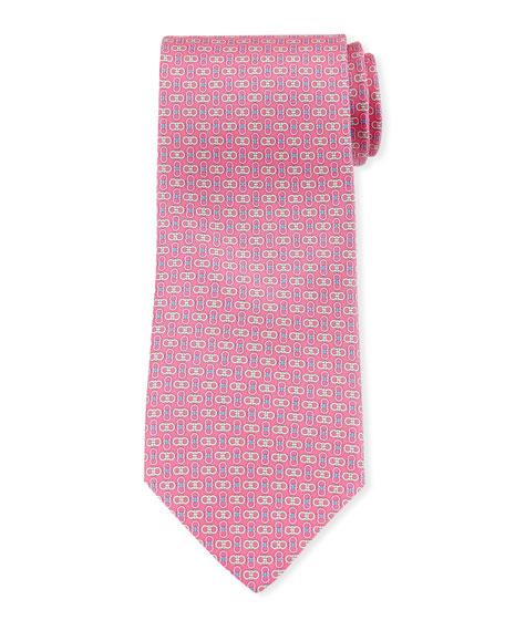 Salvatore Ferragamo Enne Gancini Silk Tie, Pink