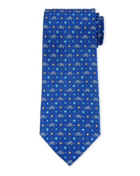 Salvatore Ferragamo Graziel Bicycle Silk Tie, Blue