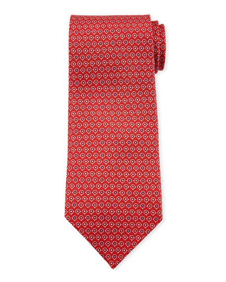 Salvatore Ferragamo Grey Gancio Silk Tie, Red