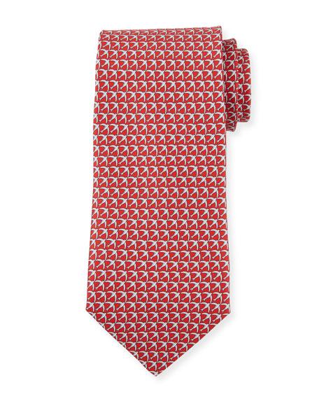 Salvatore Ferragamo Giugno Birds Tie, Red