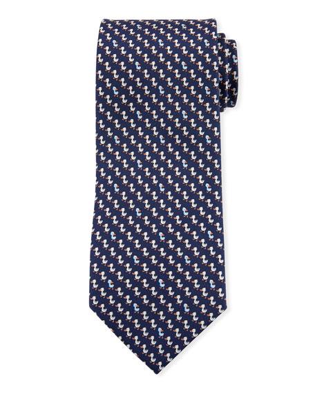 Salvatore Ferragamo Gaio Ducks Silk Tie, Blue