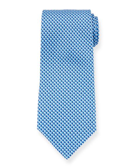Salvatore Ferragamo Gift Two-Tone Hearts Silk Tie, Blue
