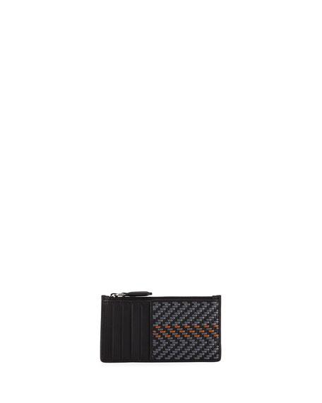 Ermenegildo Zegna Men's Pelle Tessuta Card Case w/ Zipper Pocket