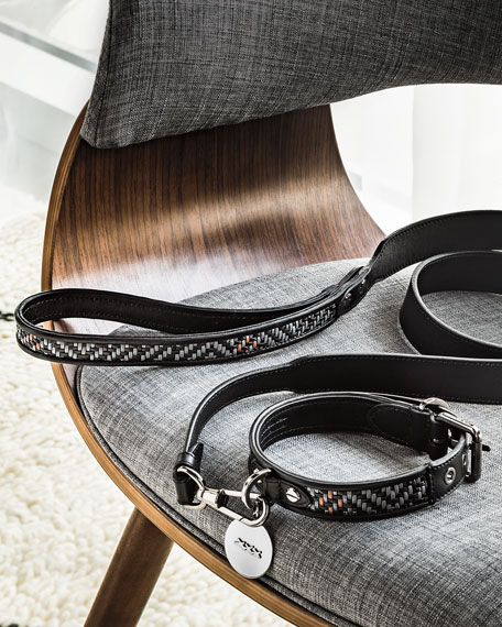 Ermenegildo Zegna Pelle Tessuta Leather Dog Leash