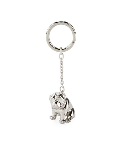 Palladium-Plated Bulldog Key Chain with Rotating Detail