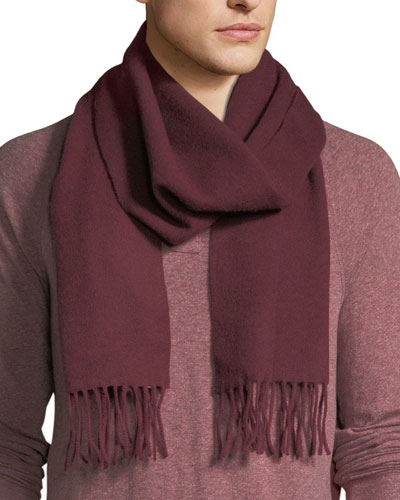 Men's Solid Cashmere Scarf, Burgundy Red