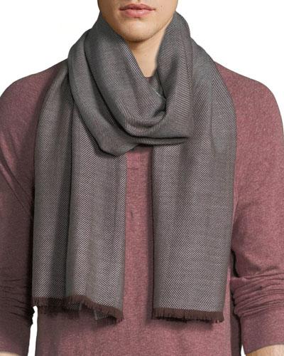 Men's Wool Herringbone Scarf