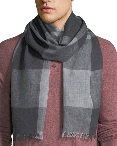Men's Two-Tone Plaid Wool Scarf