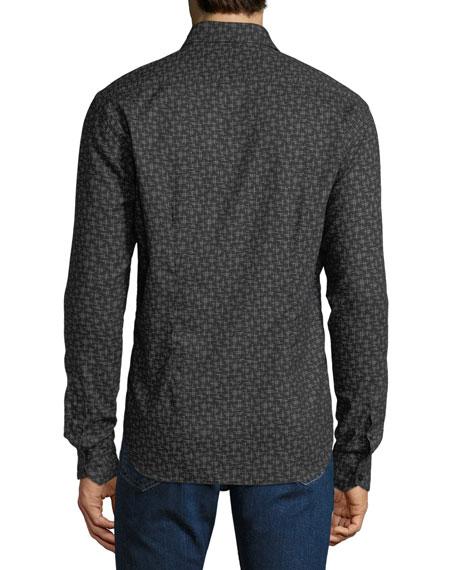 Culturata Men's Soft Touch Line-Print Sport Shirt