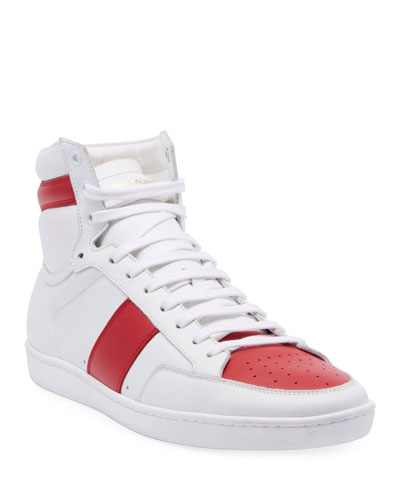 Men's SL10H Lace-Up Leather High-Top Sneakers