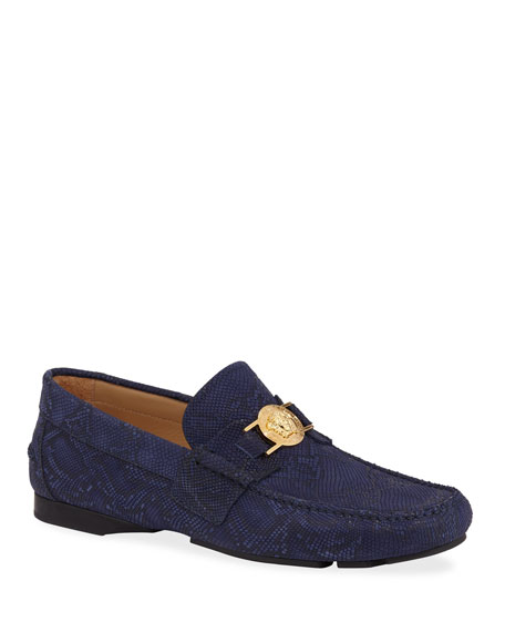 Versace Loafers MEN'S PYTHON-EMBOSSED MEDUSA LOAFERS