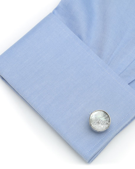Cufflinks Inc. Mother of Pearl Cuff Links with Floating Crystals
