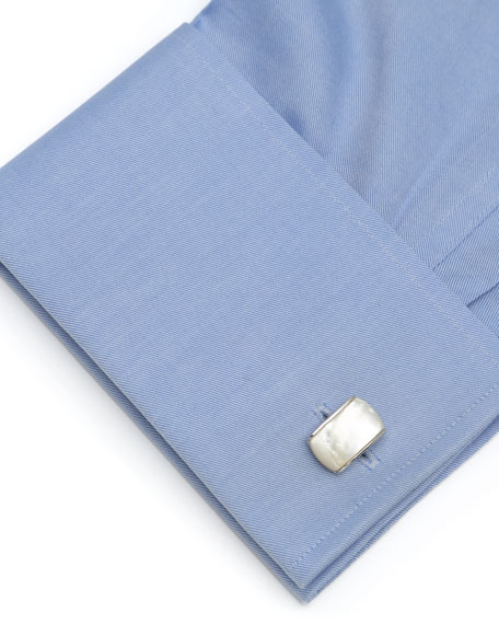 Cufflinks Inc. Sterling Silver Cushion Cuff Links with Mother of Pearl