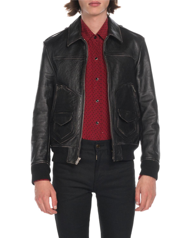 d6385ed1d Men's Distressed Leather Bomber Jacket