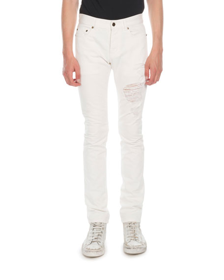 Saint Laurent Men's Distressed Cotton Jeans