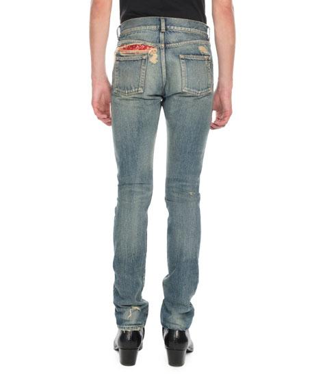 Saint Laurent Men's Wash Distressed Denim Jeans