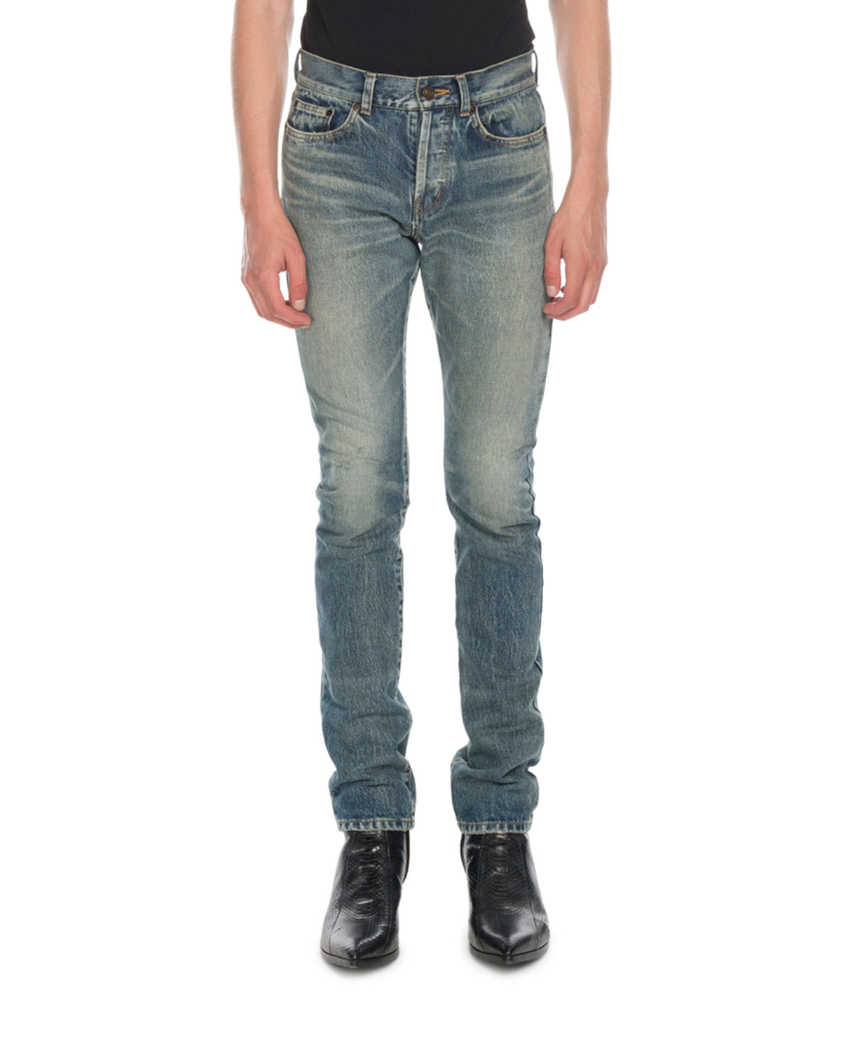 339cc1ed6b3 Saint Lau Men S Wash Distressed Denim Jeans Neiman Marcus. Saint Lau  Distressed Slim Fit Jeans Blue