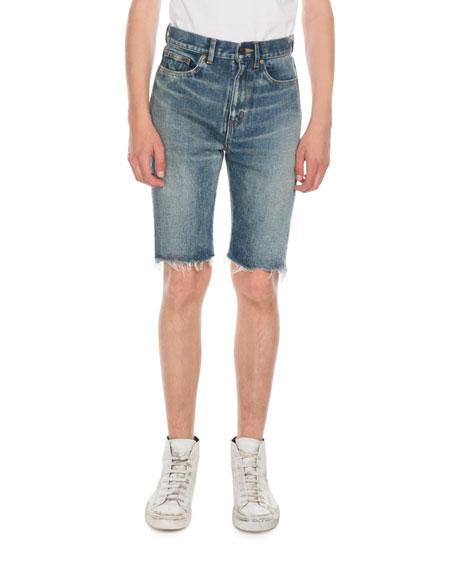 Saint Laurent Men's Miami Spray Jean Shorts