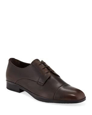 3177449796589e Prada Men s Bristol Vitello Leather Lace-Up Dress Shoes