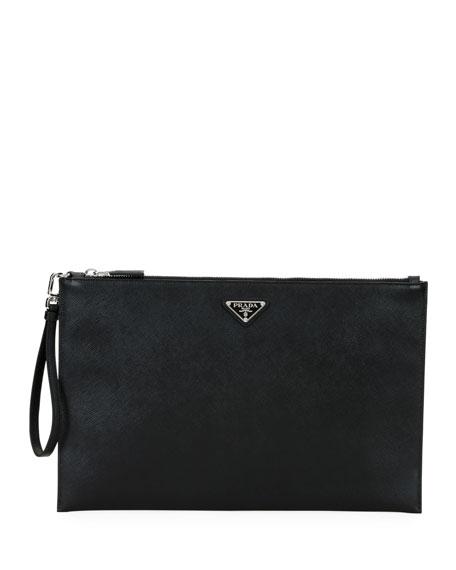 Prada Men's Saffiano Leather Portfolio Case