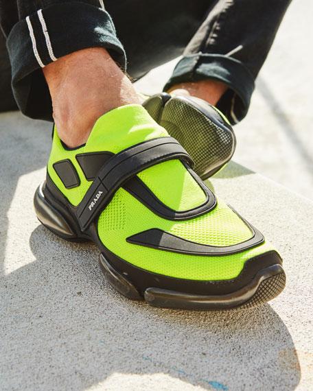 Prada Men's Cloudbust Knit Running Sneakers with Single Grip-Strap