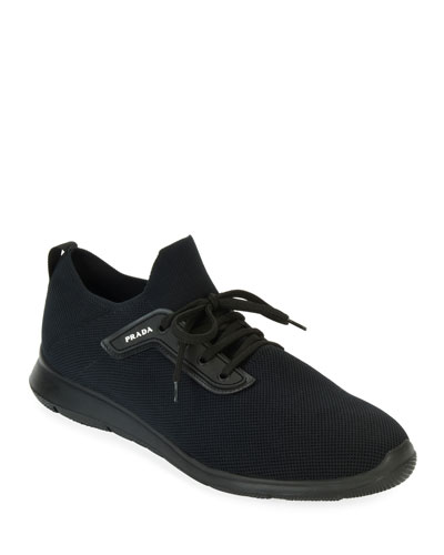 Men's Basic Tone-on-Tone Knit Low-Top Sneakers