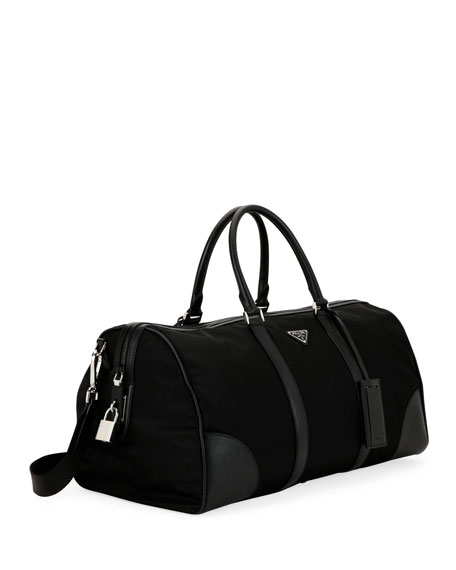 Prada Men's Nylon & Saffiano Duffel Bag