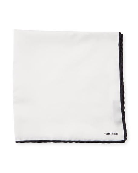 TOM FORD Contrast-Trim Solid Silk Pocket Square