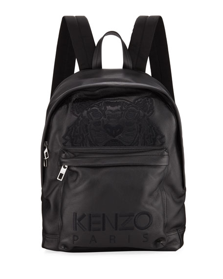 Kenzo Men's Tiger-Embroidered Leather Backpack