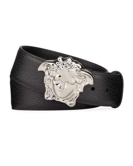 Versace Men's Embossed Leather Medusa-Buckle Belt