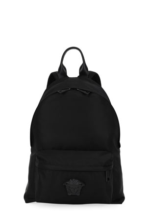 Versace Men's Nylon Backpack w/ Medusa Head Detail