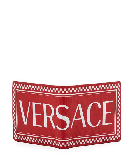 Versace Men's Stamp Logo Leather Wallet