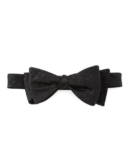 Neiman Marcus Pre-Tied Floral-Pattern Silk Bow Tie