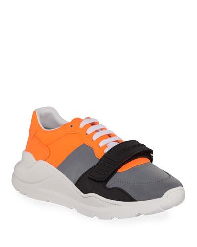 Men's Regis Neoprene Low-Top Sneakers with Exaggerated Sole  Gray/Orange