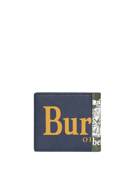 Burberry Men's Graphic-Print Leather Bi-Fold Wallet