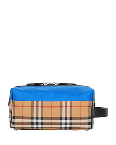 Men's Vintage Check Toiletry Travel Case  Blue