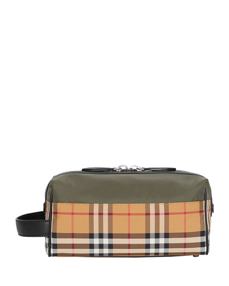 Burberry MEN'S VINTAGE CHECK TOILETRY TRAVEL CASE, GREEN