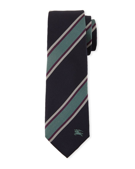 Burberry Slim-Cut Jacquard-Woven Striped Silk Tie