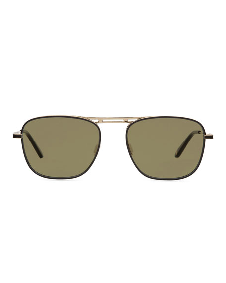 Garrett Leight Men's Canal Square Aviator Sunglasses