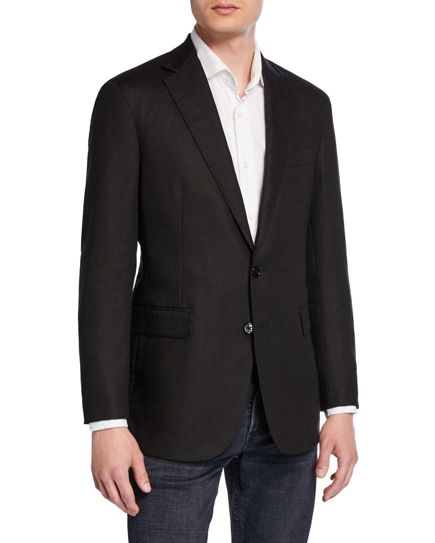 3423345f4ce7 Ralph Lauren Men's Hadley 2-Button Linen Jacket, Black | Neiman Marcus