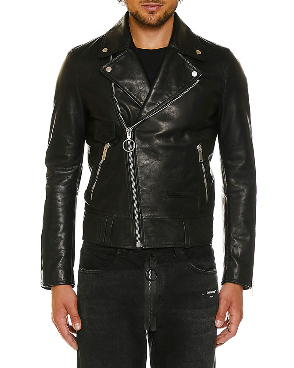 6e4495fc6 Men's Leather Biker Jacket