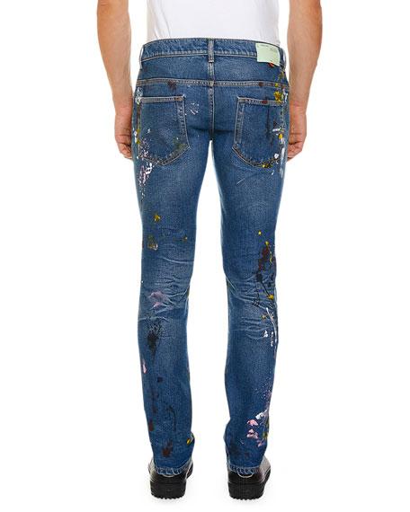 Off-White Men's Regular Length Vintage Paint Skinny Jeans