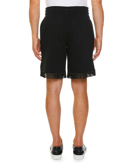 Marcelo Burlon Men's Muhammad Ali Sign Fringe Shorts