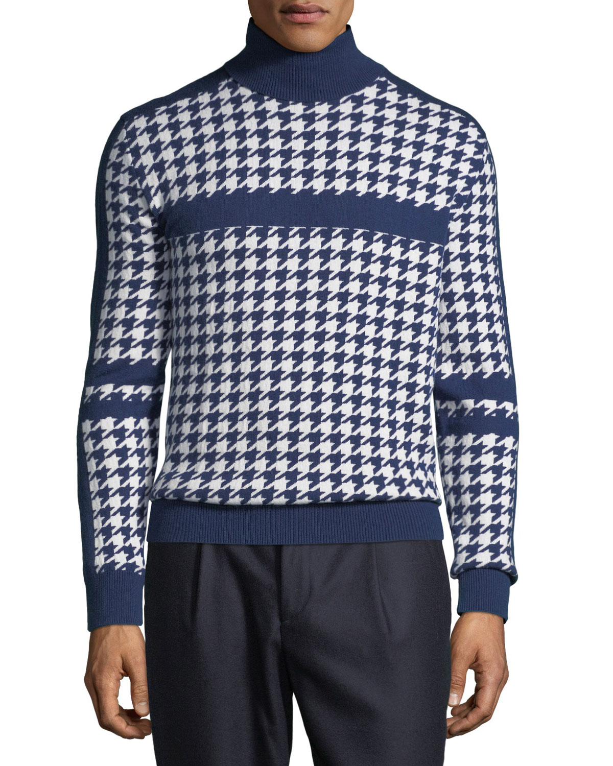 Men's Houndstooth Cashmere Turtleneck Sweater by Stefano Ricci