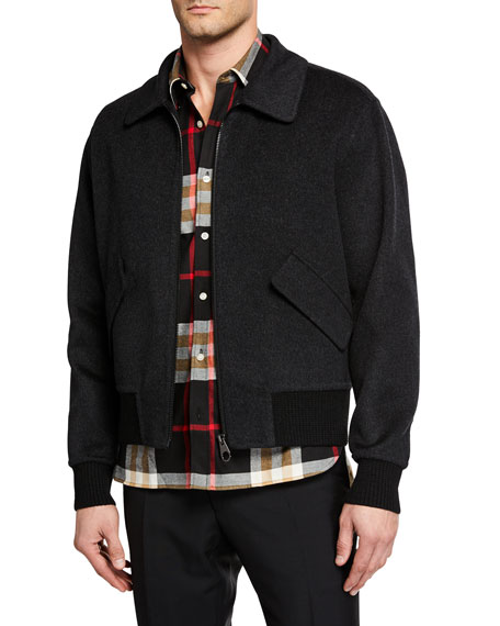 Burberry Men's Croxton Bomber Jacket with Detachable Collar
