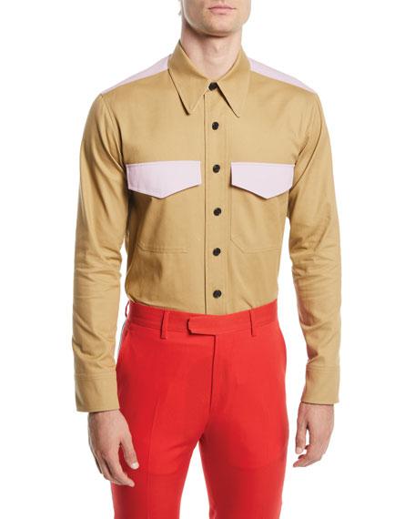 CALVIN KLEIN 205W39NYC Men's Contrast-Trim Twill Shirt