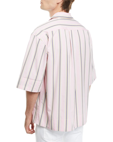 CALVIN KLEIN 205W39NYC Men's Multi-Stripe Short-Sleeve Sport Shirt