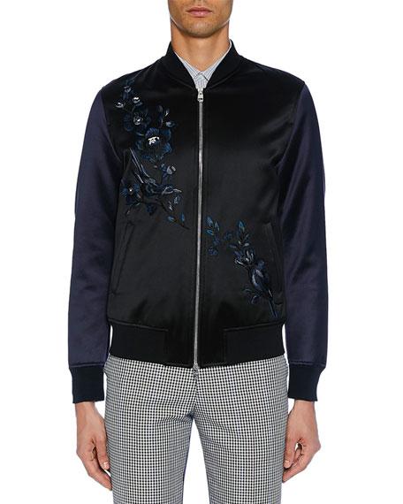 Alexander McQueen Men's Satin Black Bomber Jacket
