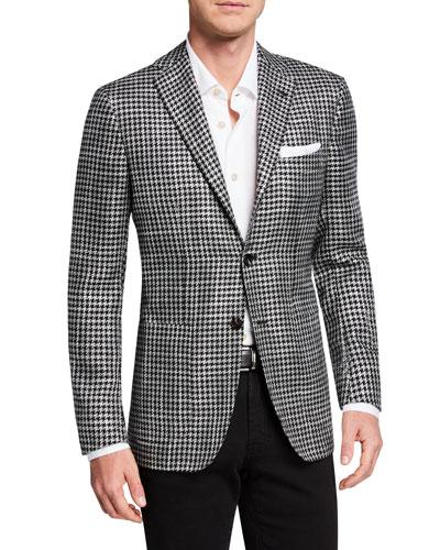 Men's Cashmere/Silk Houndstooth Blazer