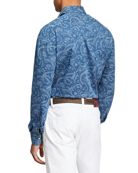 Image 2 of 2: Kiton Men's Chambray Paisley Sport Shirt